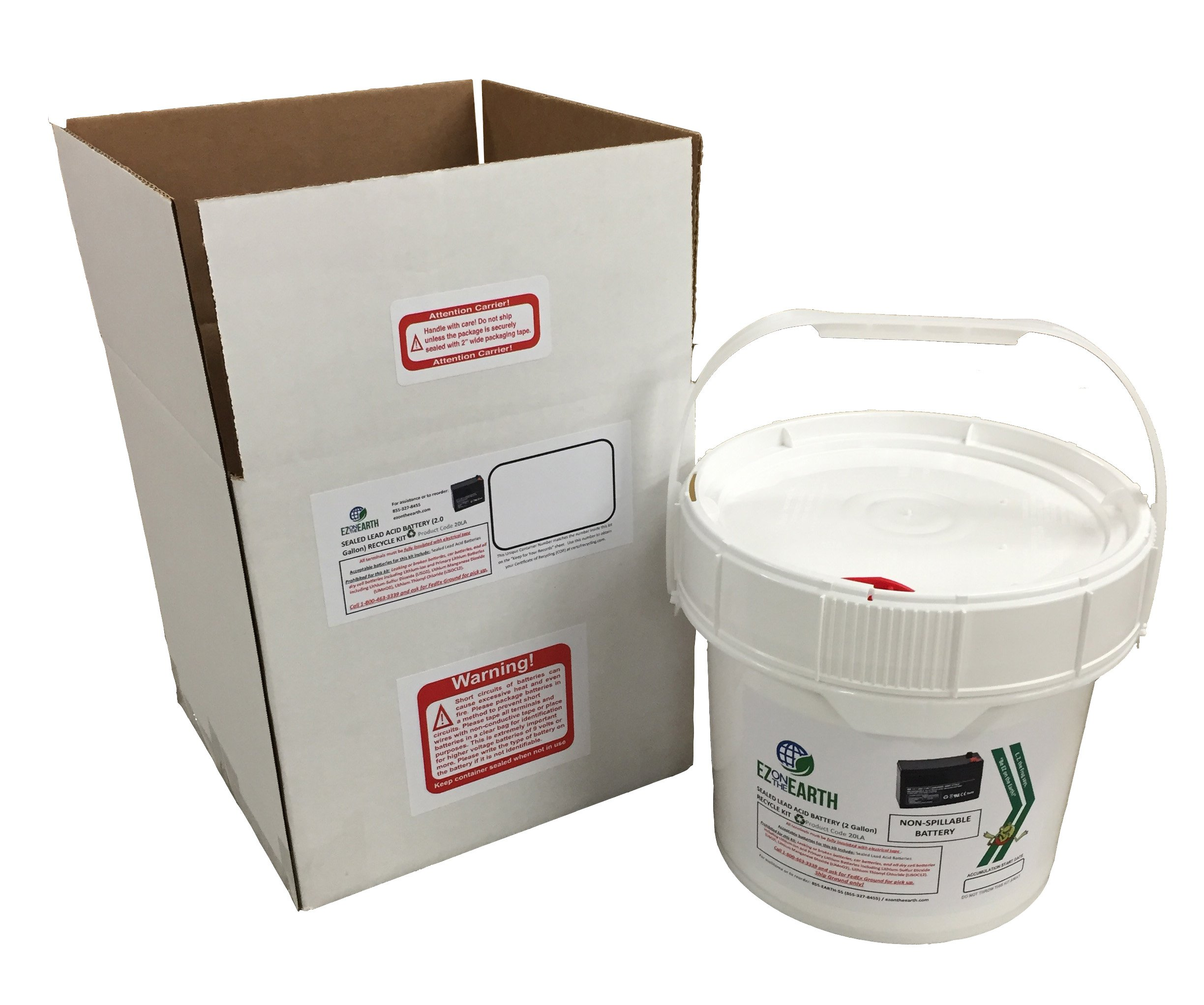 EZ on the Earth, Lead Acid Battery Recycling Kit, 2.0 Gallon Battery Recycling Pail, Pre-Paid, Mail-Back Recycle Kit for Lead Acid Batteries