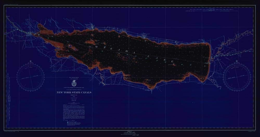 Vintography NOAA Blueprint Style 18 x 24 Nautical Chart New York State CANALS Lake Survey 57a