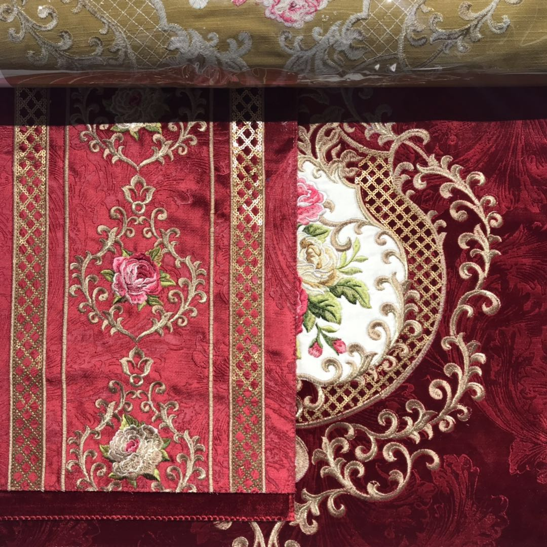 embroidery  embroidered sofa  velvet fabric price per meter for sofa luxury fabric