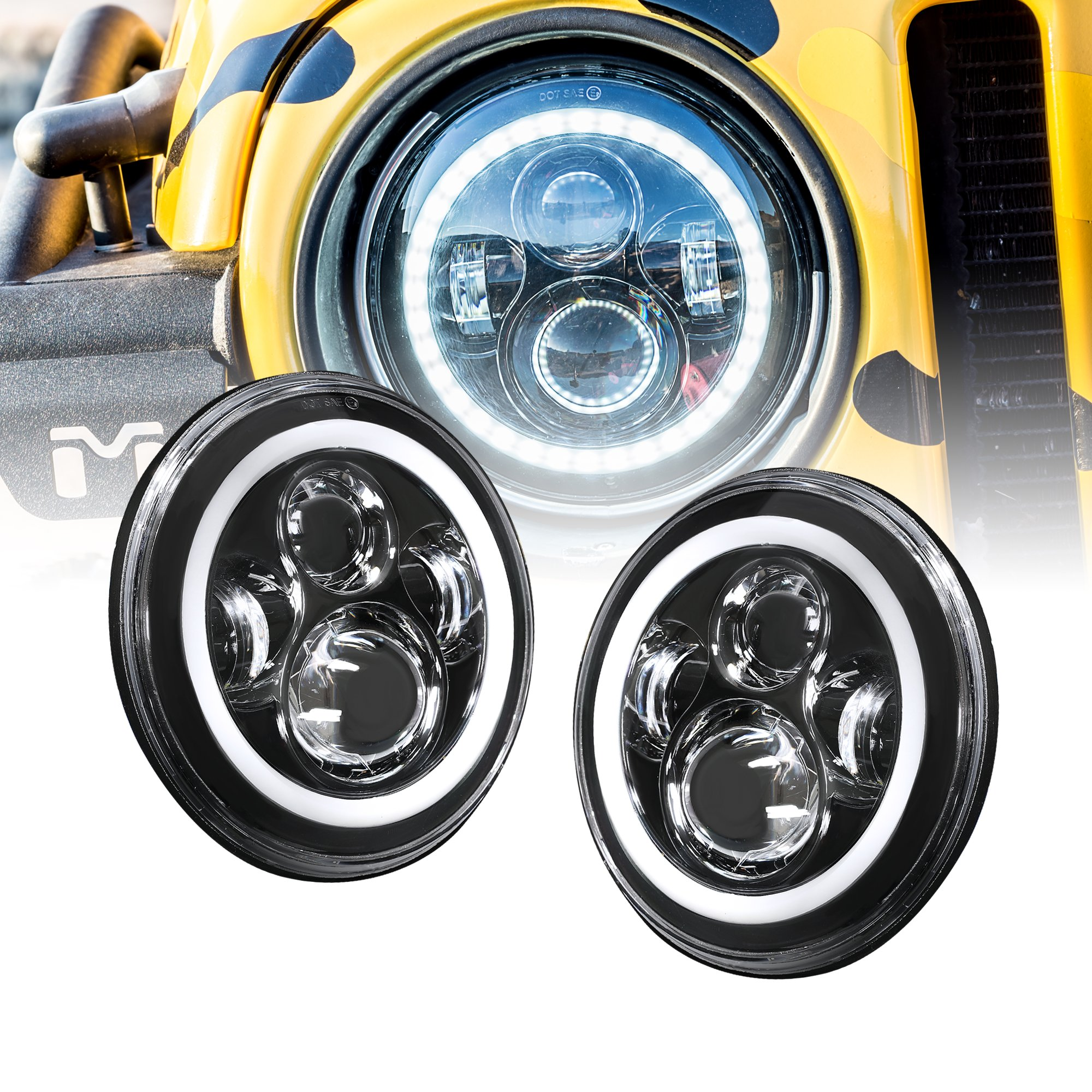 """OLS Universal 7"""" Round H4 45W LED Headlight Sealed Beam 2 pc Set [Plug & Play] [HALO Turn Signal & DRL] [H4 to H13 Adapter] - For Jeep, Harley Davidson Motorcycles, Land Cruiser & More - Cold White"""