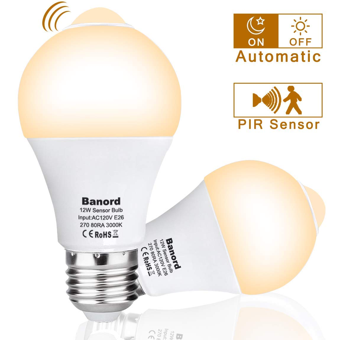 Motion Sensor Light Bulb, 12W PIR Motion Detector Smart Bulbs, Dusk to Dawn Motion LED Light, E26 Base 500lm 3000K Warm White, A19 Light Bulbs, Auto On/Off Outdoor/Indoor LED Bulb, 2-Pack by BANORD