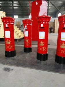 English typical red mailbox letter box post mail box