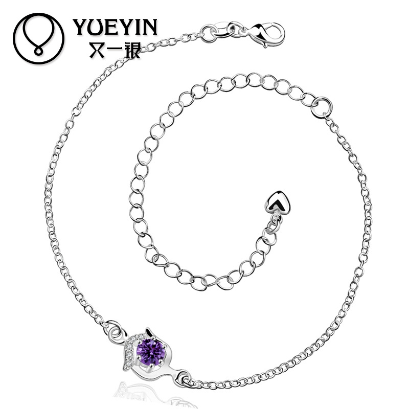 Wholesale Fancy Amethyst Silver Wedding Anklet With Zircon