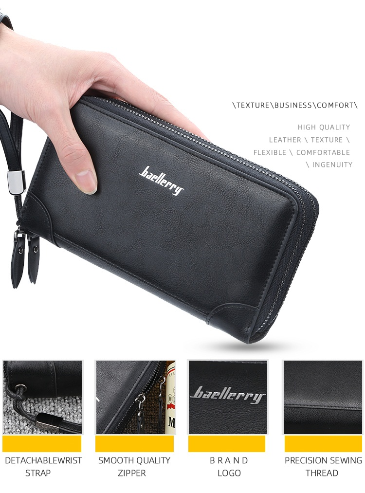 2019 Baellerry New Wholesale Double Zipper PU Leather Long Wallet Men Mobile Phone Wallet Clutch With Hand Strap