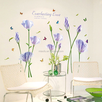 Removable dining Room 3D PVC flower wall stickers decoration