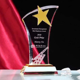 Custom Metal Star Crystal Glass Trophy Award for Recognition Prize