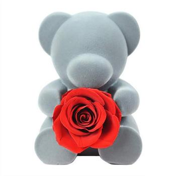 Rose Bear Handmade Preserved Fresh Rose Flower Bear Doll with Beautiful Gift Box Never Withered Flower Rose Bear for Valentine's