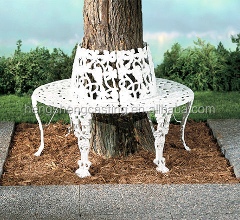 Cast Iron Round Tree Bench Iron Round Tree Bench White