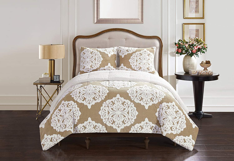 Casa Jacquard Damask Comforter Set, 3 Piece