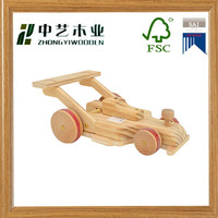 FSC Vintage style unfinished wood wheel decoractive Carved Racing Car toy wood toy educational toy made in CHINA