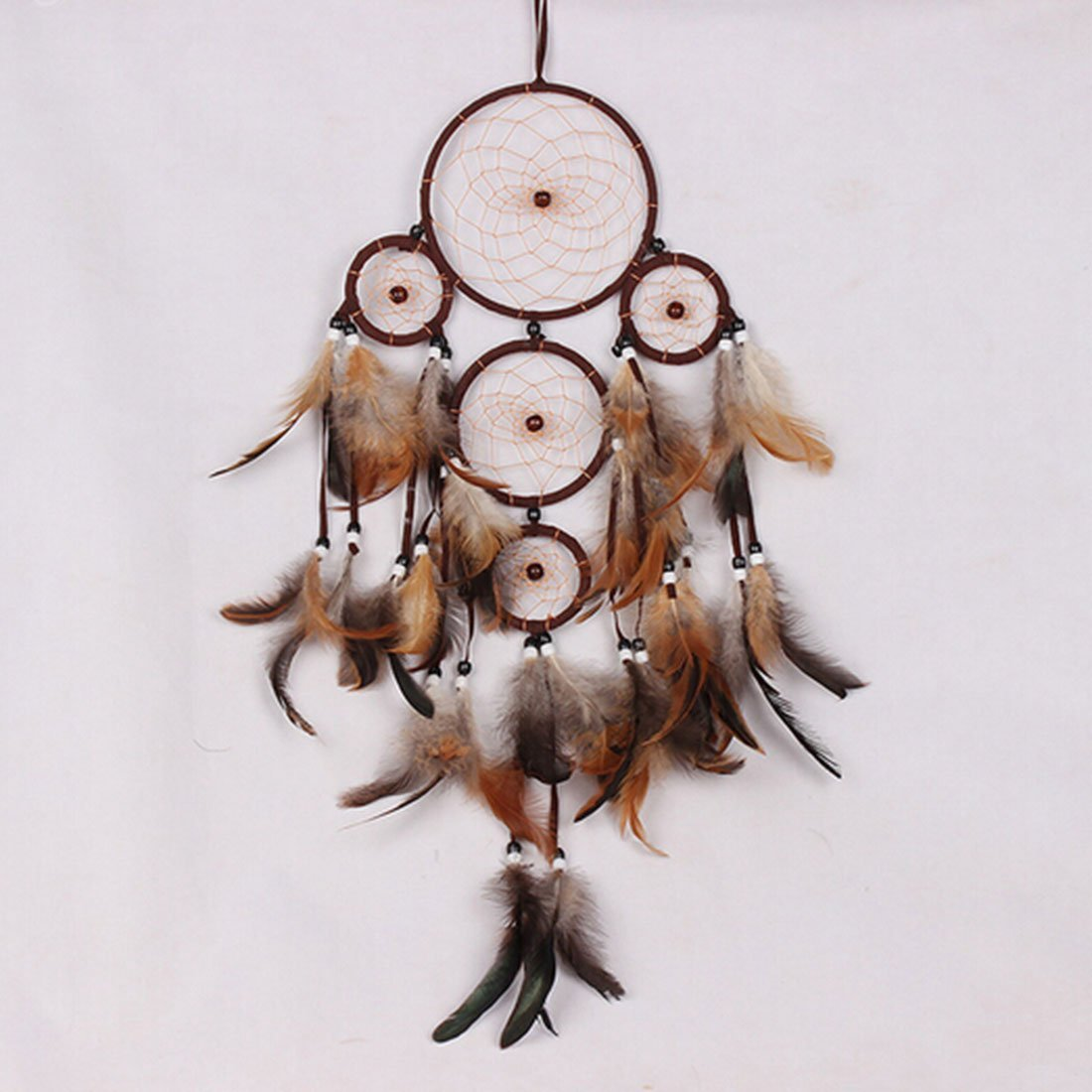 Little Chair Dark Brown Handmade Feather Beads Dream Catcher Multi Circulars Net Car Home Room Wall Hanging Decoration Party Wedding Ornament Gift