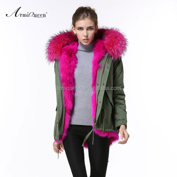 Domeir Wholesale Rose Pink Fur Lining Military Green Jacket,Womens ...