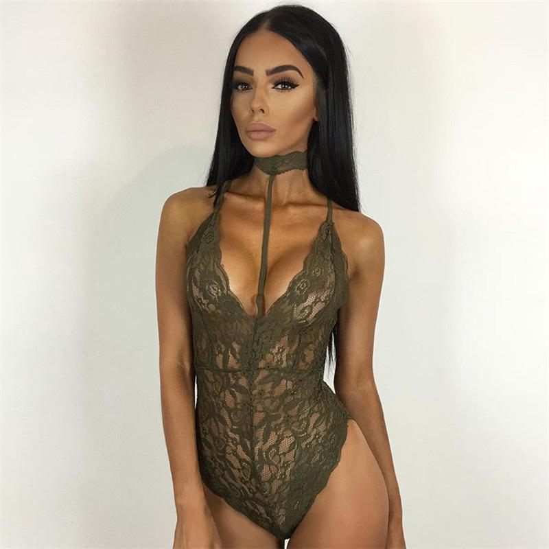 2ec45e1f41 2019 Wholesale Sexy Women Mousse Full Transparent Lace Bodysuit Lady ...