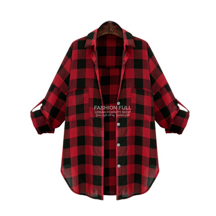 Hot Sale 2015 Fashion Women Full Sleeve Plaid Pockets Casual Lapel Button Blouse Long Sleeve Shirt Plus Size blusas