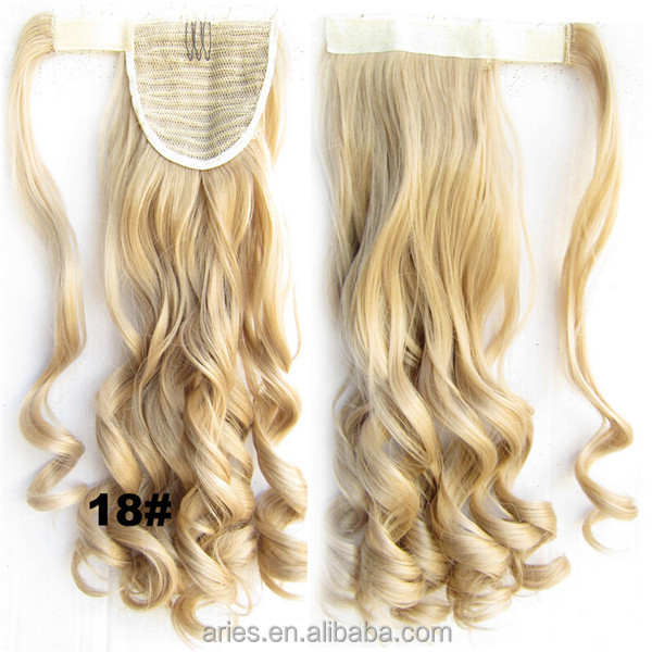 Blonde Hair Drawstring Ponytail Hair Extensionsynthetic Hair Pieces