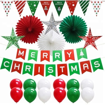20pcs christmas party supplies set include triangle banner paper fans balloons paper star