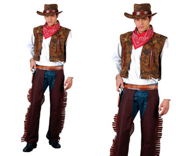 Western Cowboy Adult Wild West Party Man Fancy Dress Costume New Indian KS400
