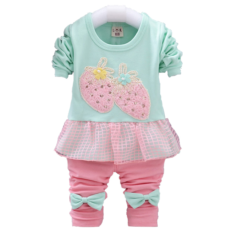 2015 Baby girls clothing sets autumn kids two piece set spring 0-4th year children clothes cotton clothes for girls new arrival
