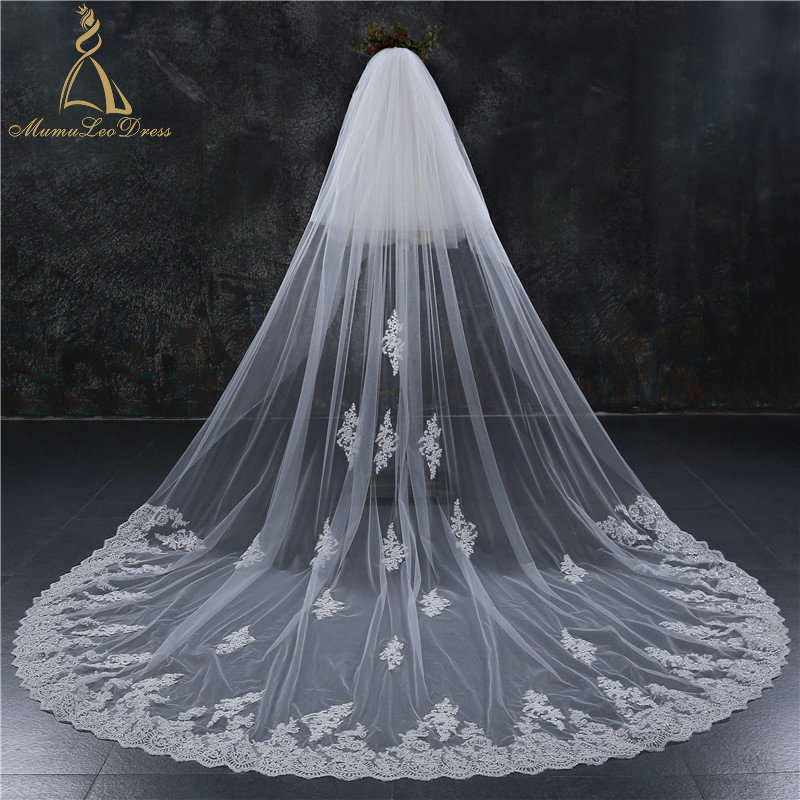 Tulle Lace Appliqued Scalloped Long Lace Trim Wedding Veil 3M 4M 5M With Comb