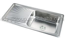 stainless steel top mount built-in single bowl single drainboard kitchen sink