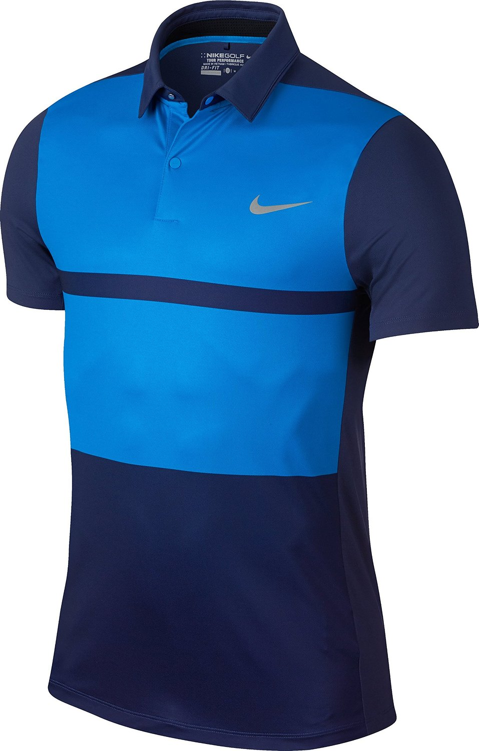 68d6e46d5 Get Quotations · Nike Golf Momentum Fly Framing Block Polo (Midnight  Navy Photo Blue Flat Silver