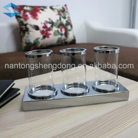 high quality set of 3 glass pillar candle holder with metal base
