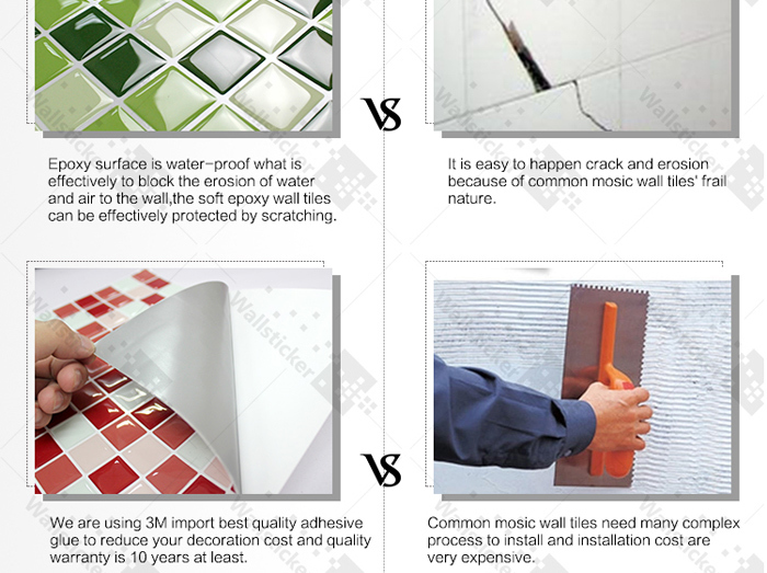Hot sale home improvement building materials eco-friendly kitchen tile sticker for home decoration