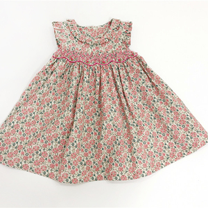 480eb1c1b937 2018 Casual Floral Smocked Baby Girl Cotton Dresses