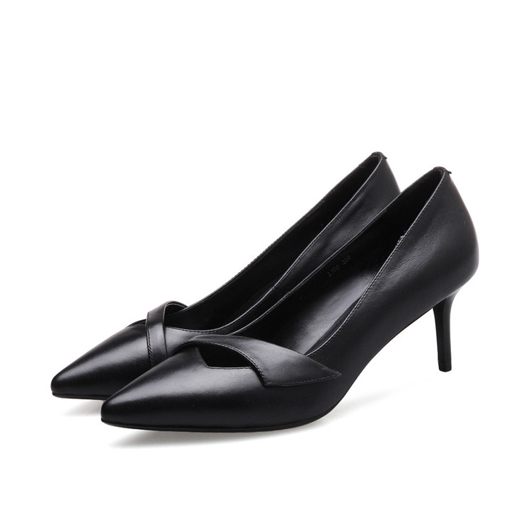 fashion high pointed genuine leather toe new autumn heels women shoes Asumer spring 2018 vxOXvB5
