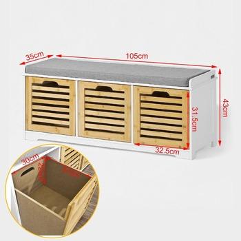 Banco de armazenamento com 3 gavetas assento almofada for Banquette salle de bain