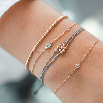 Latest 18k Gold Design Hamsa Bead Charm Bracelets Simple Bracelet For S