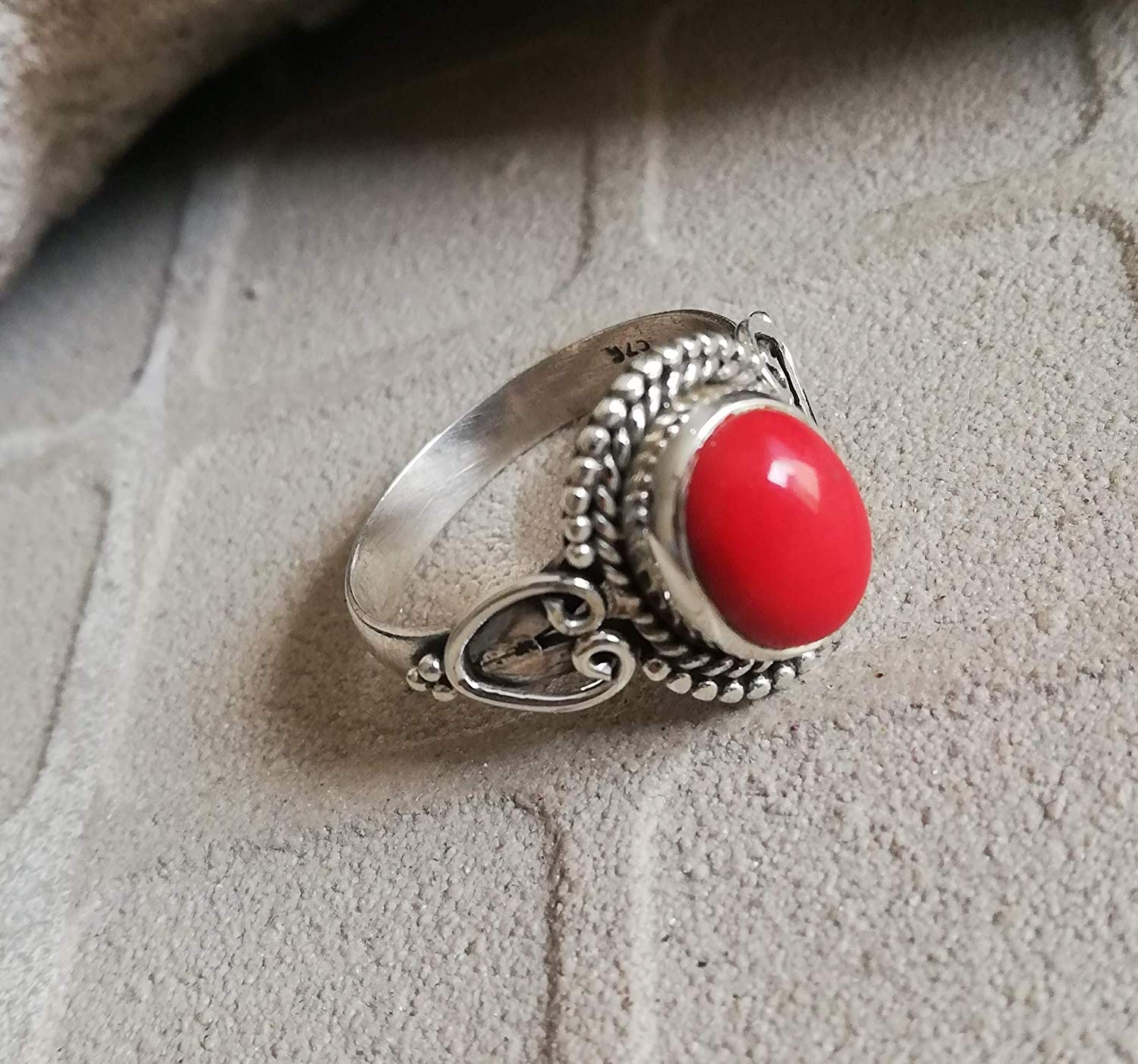 Coral Ring 925 Sterling Silver Personalised Ring Mermaid Silver Ring Beach Jewelry Vintage Ring Ethnic Ring Cabochon Ring Love Ring Ultimate Ring Stylish Ring Original Handmade Boho Chic US All Size