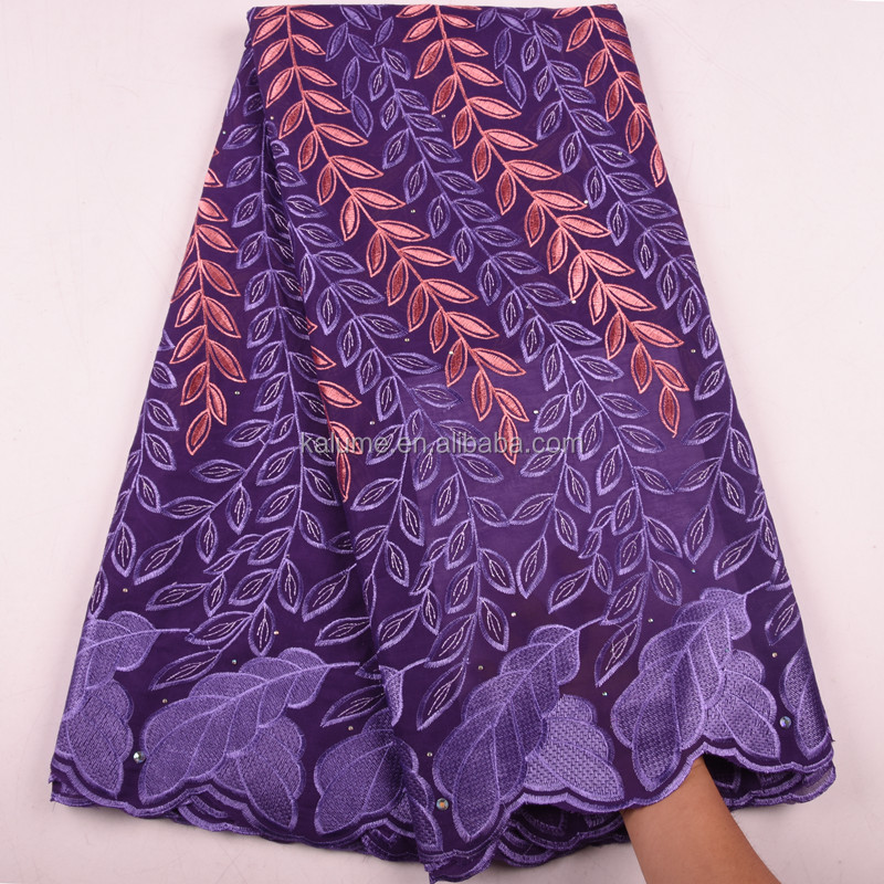 Fashion Purple Design Nigerian Women Party Swiss Voile Cotton Lace Dress Embroidered African Style Lace Fabric Dresses 1583