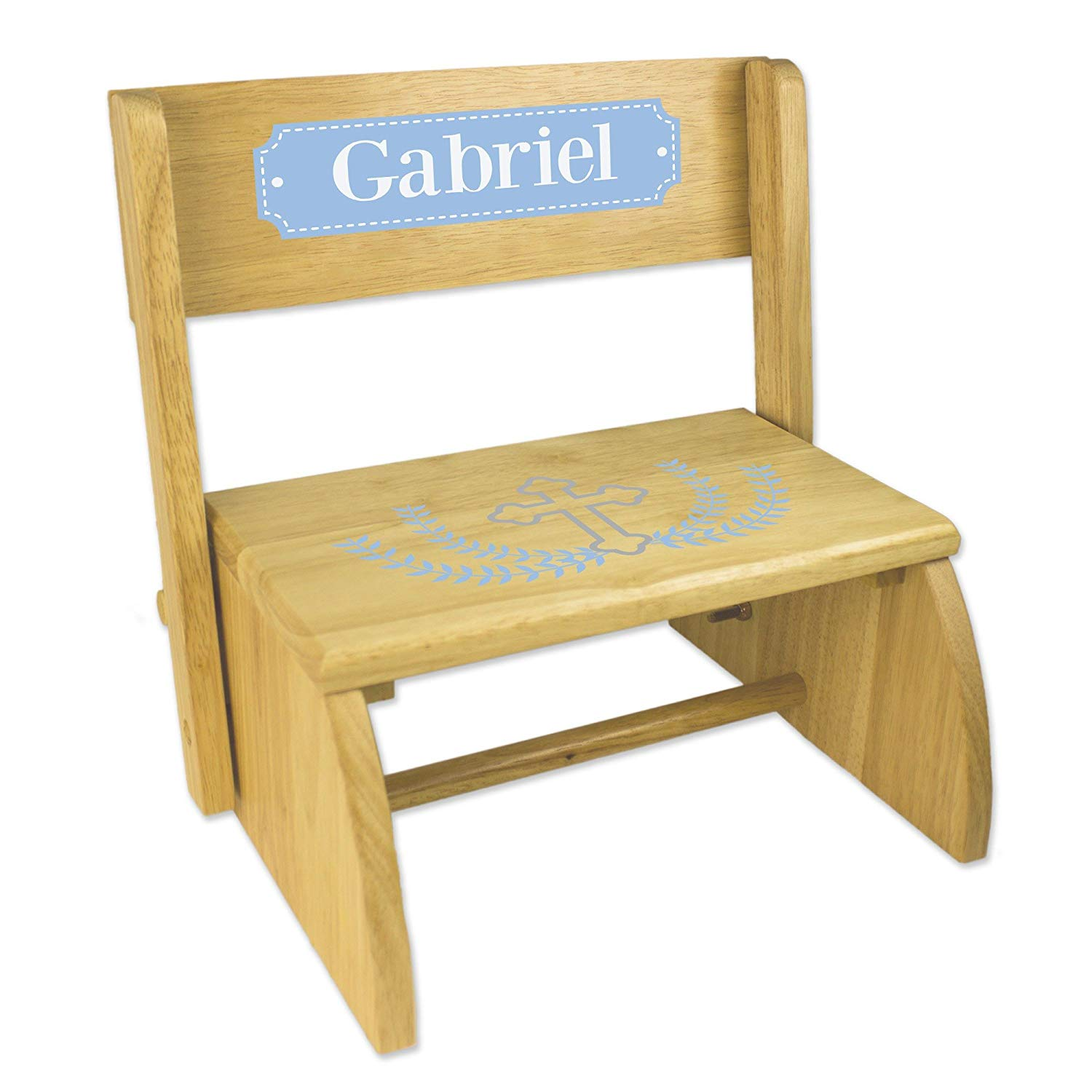 Personalized Cross Garland Light Blue Natural Wooden Folding Stool and Seat