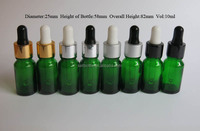10ml green dropper glass bottle with metal cap for essential oil massage oil