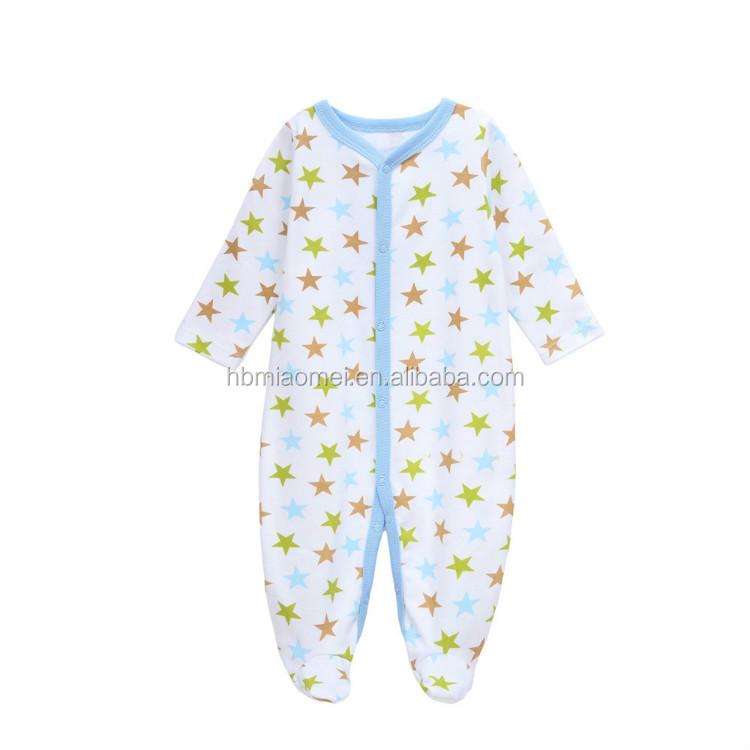 Custom Printed Cotton Newborn Clothes Long Sleeve Star Printed Baby