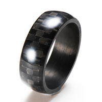 2016 jewelry polished black carbon fibre rings