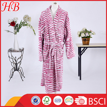 wholesale zebra cut pattern flannel fleece bathrobe women sleepwear