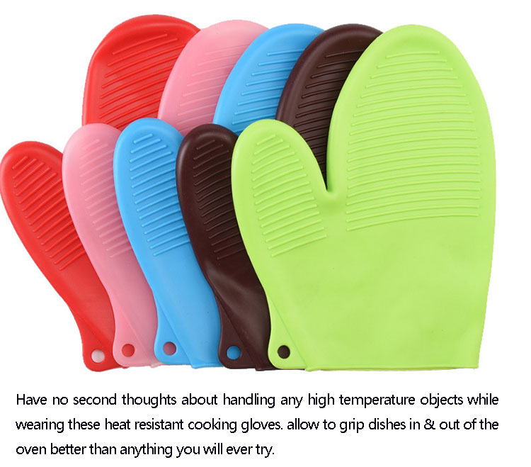 Wholesale heat resistant oven grilling baking silicone bbq cooking glove