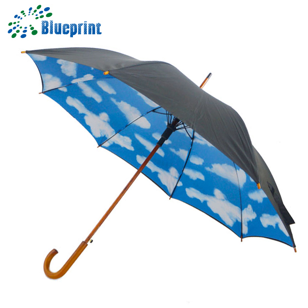 Wedding souvenirs double layers wooden handle sky umbrella printing