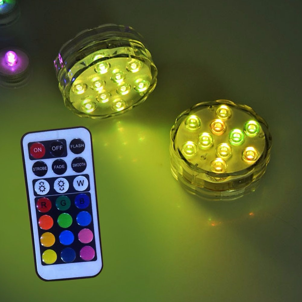 LED Multi Color Submersible Waterproof Wedding Party Vase Base Light + 21 keys remote control