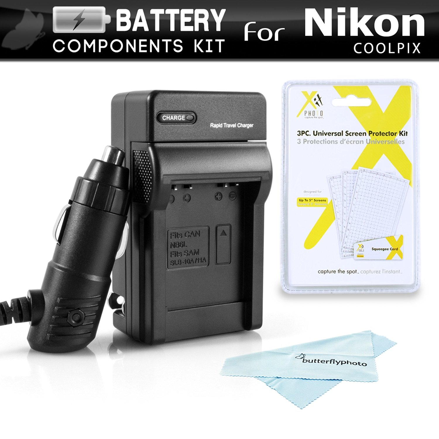 Battery Charger Kit For Nikon COOLPIX B700, P900, P610, P600 16.1 MP Wi-Fi Digital Camera Includes Ac/Dc 110/220 Rapid Travel Charger For Nikon EN-EL23 Battery + Screen Protectors + MicroFiber Cloth