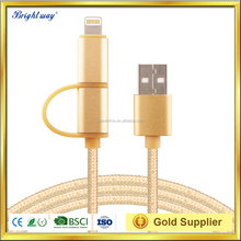 2016 High quality usb cable 2in1 For i5 & micro USB nylon braided charging cord data cable for iPhone / Samsung and more