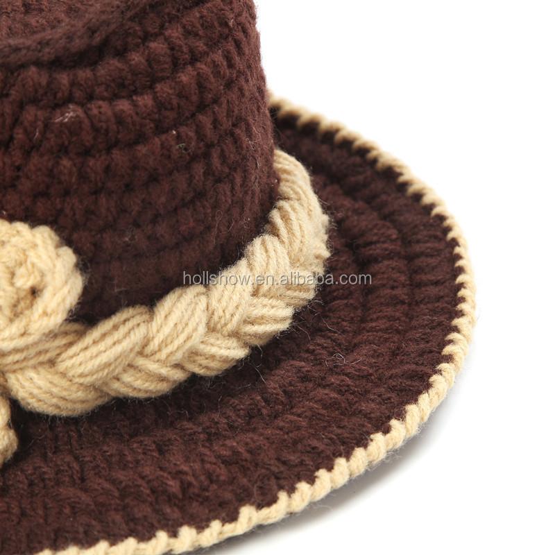 Moda Cool Crochet Feitas À Mão Recém-nascido Macio Panamá Chapéu e Fralda  Capa Infantil fcf15730a87