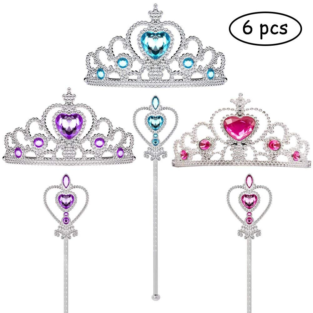 TOYHUYI Princess Pretend Jewelry Toy,Girl's Jewelry Dress Up Accessories Pretend Play Gift Set Birthday Party Favor,Including Princess Tiara Crowns, Necklaces,Wands, Rings,Earrings andBracelets