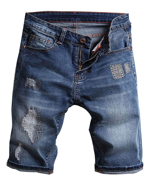 ec64b8c499 Get Quotations · Plaid&Plain Men's Slim Fit Shorts Ripped Jean Shorts Mens  Denim Shorts