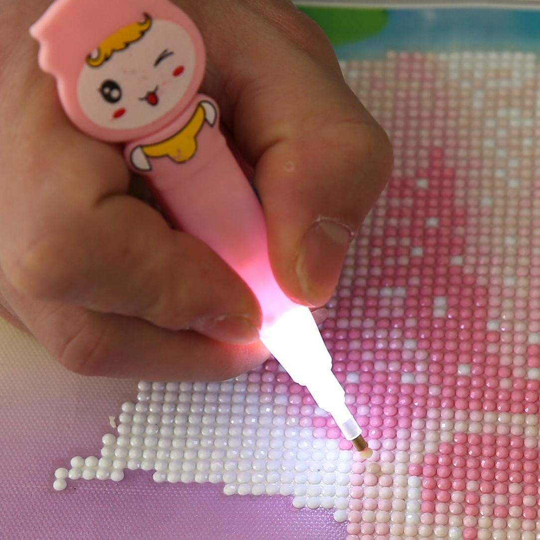 FTXJ Glowing Cartoon Drill Pen with Light for DIY Diamonds Painting Diamond Painting Cross Stitch (Pink)