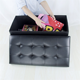 Folding Storage Ottoman Black Leather Cube Footstool With Storage
