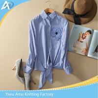 Popular 2016 lady shirts striped blue shirt the lowest price shirt