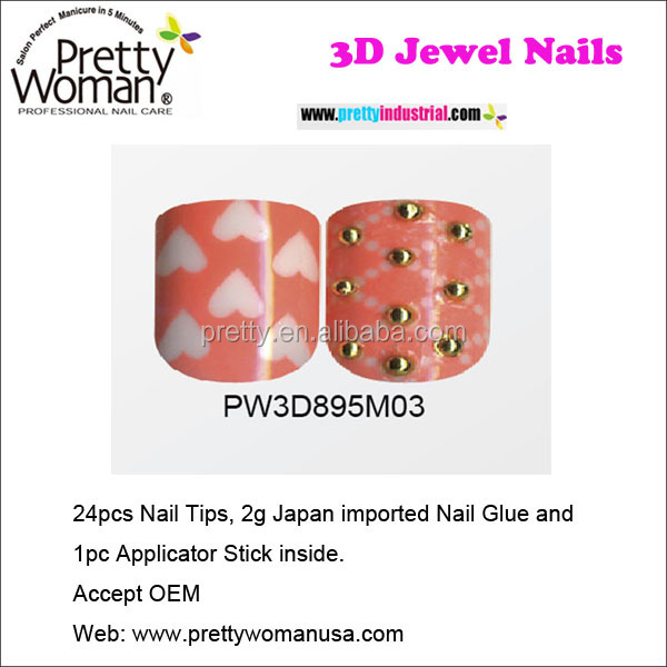 Pretty Woman 24 Pcs Pre Decorated Beauty Eagle Nail Tips For Home Use
